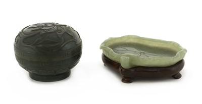 Lot 80 - A Chinese jade brush lick