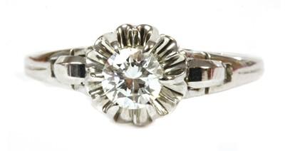 Lot 108 - A white gold single stone diamond ring