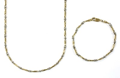 Lot 67 - A 9ct two colour gold necklace and bracelet suite