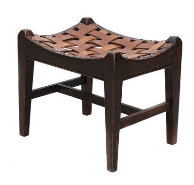 Lot 67 - An Arts and Crafts oak stool
