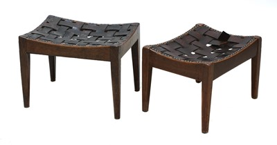 Lot 66 - Two Arts and Crafts oak stools