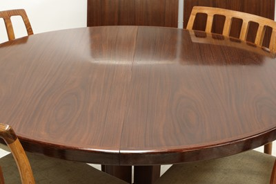 Lot 534 - A Danish extending rosewood dining table, §