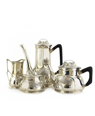 Lot 12 - An Orivit sterling silver four-piece tea and coffee set