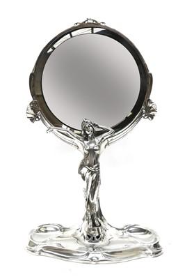 Lot 81 - A large Kayserzinn silver-plated mirror