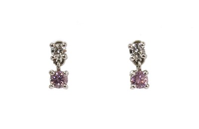Lot 127 - A pair of 18ct white gold pink and white diamond drop earrings
