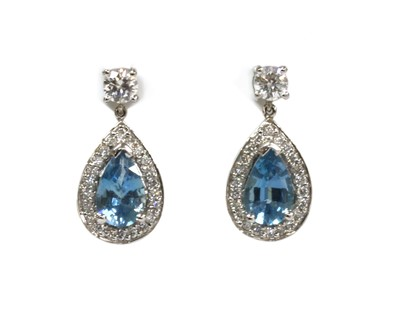 Lot 169 - A pair of 18ct white gold aquamarine and diamond drop earrings