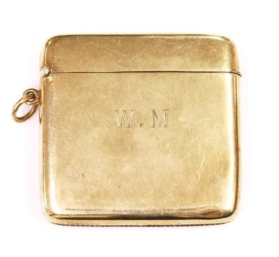 Lot 127 - A 9ct gold cushion shaped vesta case, by Horace Woodward & Co. Ltd.