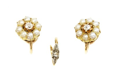 Lot 103 - A pair of diamond and split pearl cluster earrings, c.1900