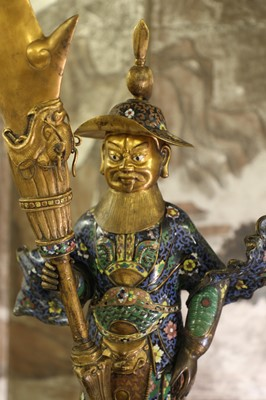 Lot 77 - A pair of Chinese cloisonné attendant figures