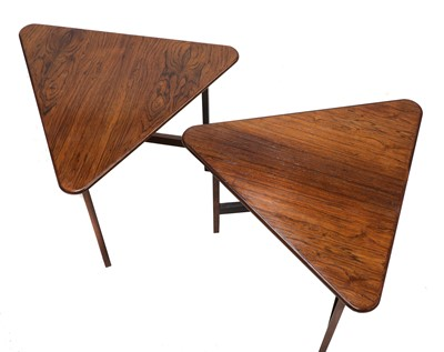 Lot 523 - A pair of Danish rosewood triangular tables, §