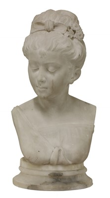 Lot 464 - A marble bust of a young girl