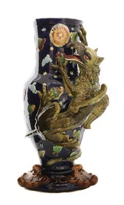 Lot 85 - A large majolica pottery vase