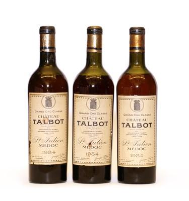 Lot 92 - Chateau Talbot, 4eme Cru Classe, St Julien. 1934, three bottles
