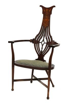 Lot 80 - An Art Nouveau mahogany inlaid armchair