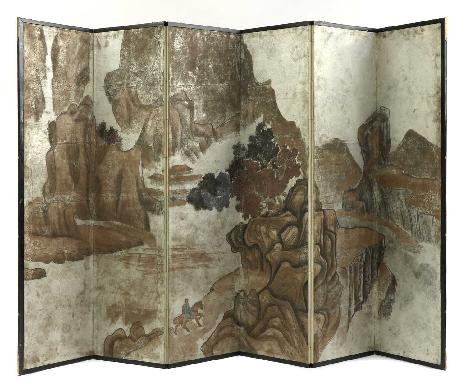 Lot 76 - A Chinese six-fold painted paper screen