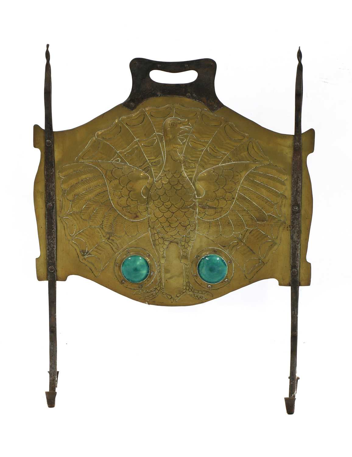 Lot 76 - An Arts and Crafts copper and steel-mounted fire screen