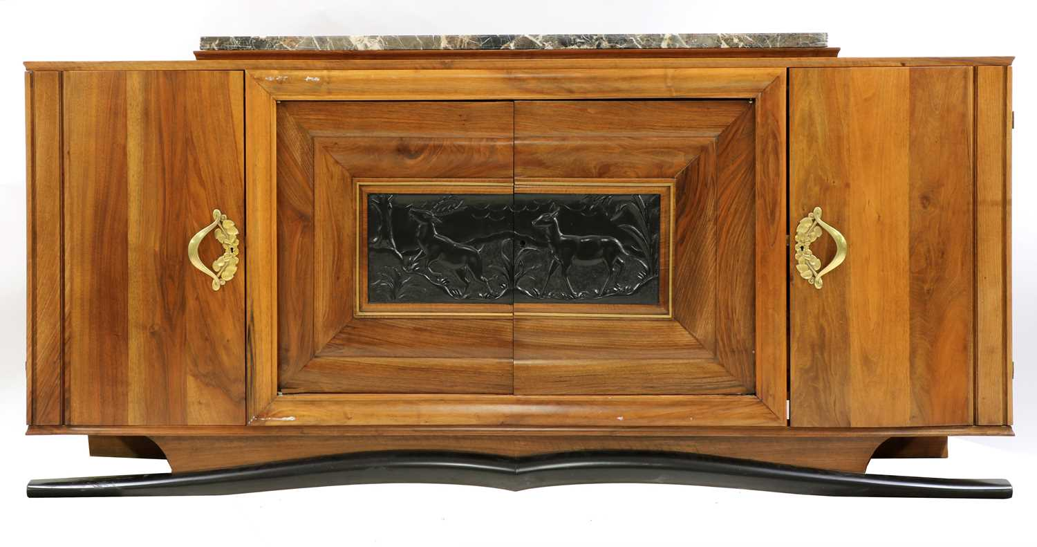 Lot 201 - A large French Art Deco walnut sideboard