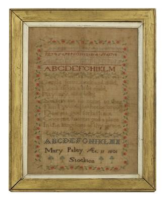 Lot 524 - A George III alphanumeric needlework sampler