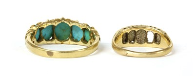 Lot 16 - A Victorian gold five stone turquoise ring