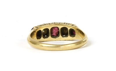 Lot 8 - A Victorian 18ct gold ruby and diamond five stone ring