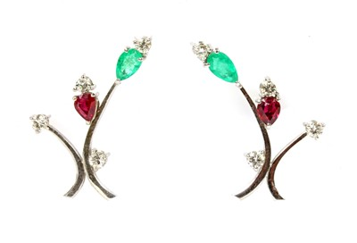 Lot 132 - A pair of white gold emerald, ruby and diamond spray earrings