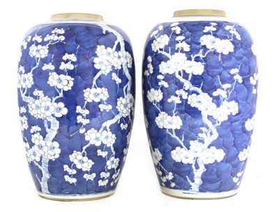 Lot 18 - A pair of Chinese blue and white vases