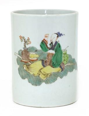Lot 85 - A Chinese famille verte brush pot