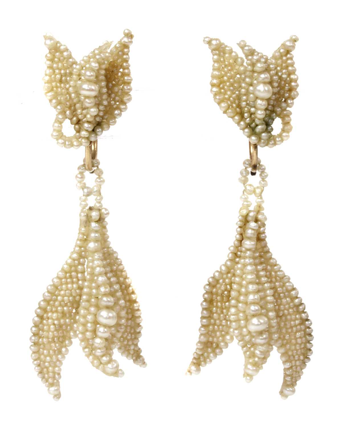 Lot 3 - A pair of early 19th century seed pearl drop earrings