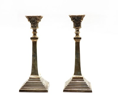 Lot 36 - A pair of silver candlesticks