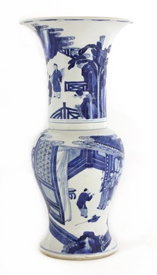 Lot 12 - A Chinese blue and white 'phoenix tail' vase