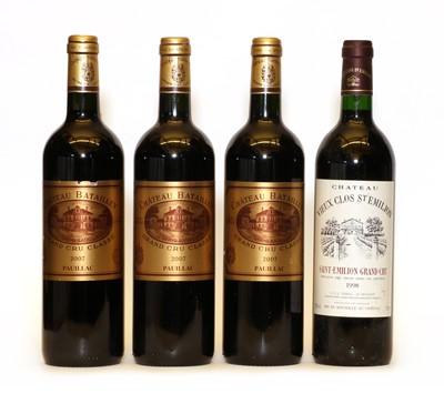 Lot 98 - Chateau Batailley, 5eme Cru Classe, Pauillac, 2007, three bottles