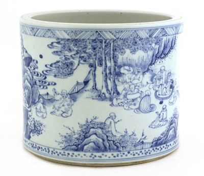 Lot 13 - A Chinese blue and white brush pot
