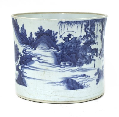 Lot 6 - A Chinese blue and white brush pot