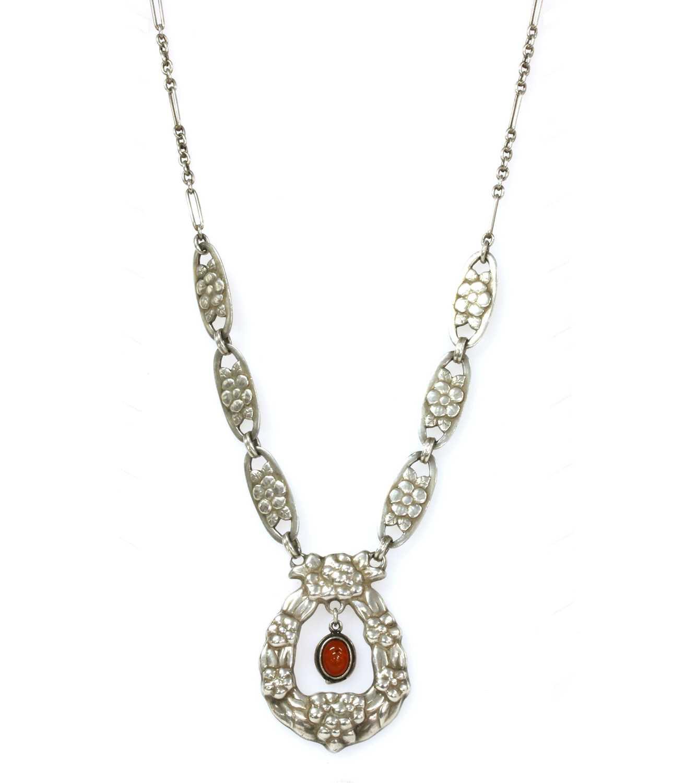 Lot 39 - A Danish Skønvirke silver necklace, by Bernhard Hertz