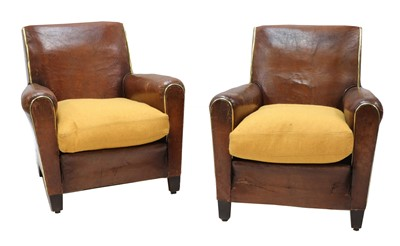 Lot 614 - A pair of French leather club chairs
