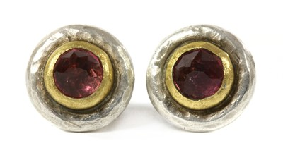 Lot 153 - A pair of silver and gold, pink tourmaline earrings, by Poppy Dandiya