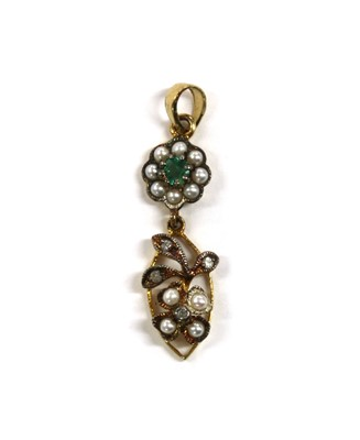 Lot 197 - A silver and gold, emerald, split pearl and diamond pendant
