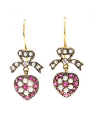 Lot 115 - A pair of silver and gold, ruby, diamond and split pearl drop earrings