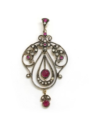 Lot 114 - A silver and gold, ruby, split pearl and diamond pendant