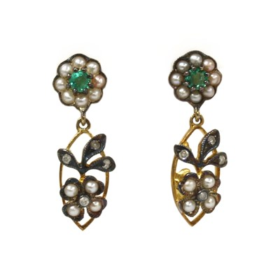 Lot 198 - A pair of silver and gold, emerald, split pearl and diamond drop earrings