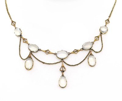 Lot 111 - An Edwardian moonstone swag necklace
