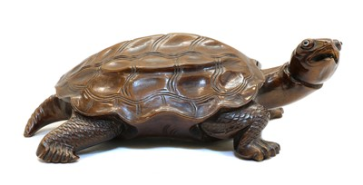 Lot 59 - A Chinese wood tortoise