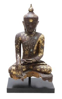 Lot 101 - A wooden and lacquered Shakyamuni Buddha