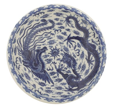 Lot 54 - A Chinese blue and white brush washer
