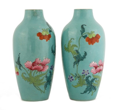 Lot 41 - A pair of Chinese famille rose vases