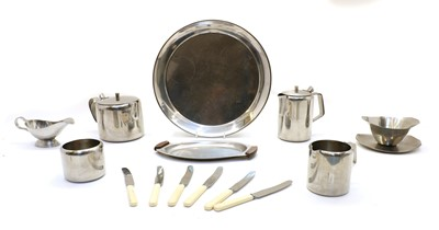 Lot 54 - An oak cased set of six silver plated fish knives and forks