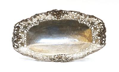 Lot 87 - A pierced silver oval dish