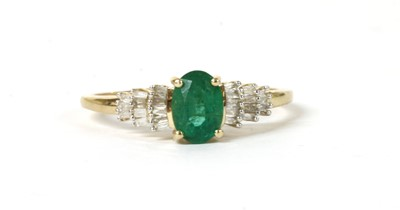 Lot 199 - A gold emerald and diamond ring