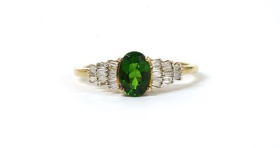 Lot 188 - A gold diopside and diamond ring