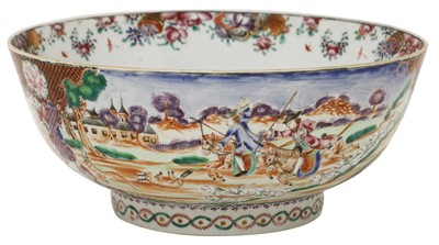 Lot 43 - A Chinese export famille rose punch bowl